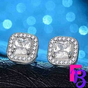 2.4 CT Platinum Princess Halo Earrings
